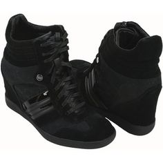 Jacquard & Suede Hidden Wedge Sneakers, Style A0548 (Black)