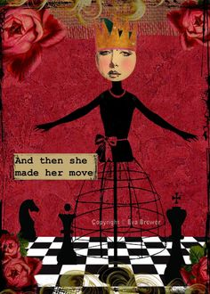 collage altered art  print  dress form floral chess queens collage red queens Eva Brewer