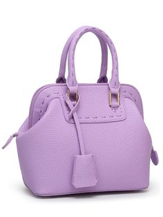 PU Leather Stitching Solid Color Tote Bag - PURPLE