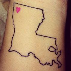 Except the heart would be Houma, La #louisianatattoo #louisianahasmyheart