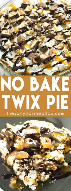 Jump to Recipe Print RecipeNo Bake Twix Pie – This pie is no bake and super easy to make! Creamy and cool filling loaded with Twix candy, topped with chocolate and caramel drizzle! Gah! Twix. Twix and…MoreMore