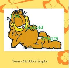 Looking for your next project? You're going to love Garfield lying down 175x125 by designer Teresa Maddon. http://www.craftsy.com/pattern/crocheting/home-decor/garfield-lying-down-175x125/173261