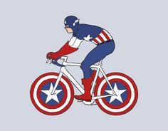 Bicycles with a Little Character: Prints by Mike Joos - I want both the Wonder Woman and the Captain America for the house. Bicycle Drawing, Bicycle Art, 1970s Cartoons, Bike Poster, Star Wars Characters, Cool Bikes, Captain America, Character Art, Pop Culture