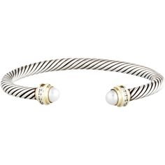 David Yurman Pearl & Diamond Cable Classics Bracelet ($795) ❤ liked on Polyvore featuring jewelry, bracelets, gold, pearl jewelry, cable bangle, white cuff bracelet, hinged cuff bracelet and 14k bangle