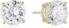 Sterling Silver Round Cut Cubic Zirconia Stud Earrings >>> Check out the image by visiting the link.