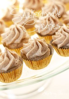 The best Snickerdoodle mini cupcakes! #recipe #cupcake #cinnamon skiptomylou.org