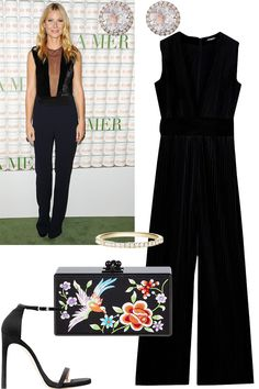 A chic alternative to the LBD, the black jumpsuit and simple accessories withstands the test of time. For a celebratory touch, finish with a vibrant box bag.