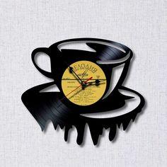 Чашка времени Vinyl Record Crafts, Vinyl Record Clock, Vinyl Art, Vinyl Records, Officine Creative, Wall Clock Design, Vintage Records, Wood Clocks, Diy Photo