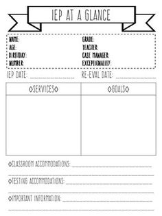 iep at a glance template - sped head student observation form professional