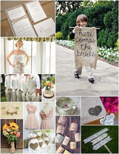 I want to have my sweet silly nephews carry the HERE COMES THE BRIDE banner...  Oh, and how fun would it be to give each guest a plain tin can & a blank label for them to write a message on and then tie to the get away car (or whatever we decide to escape in)!!!