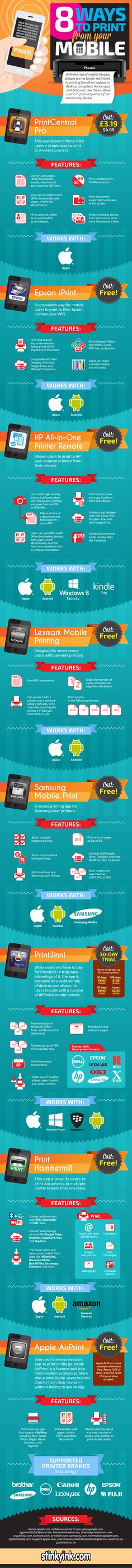 8 Ways To Print From Your #Mobile - #infographic #technology