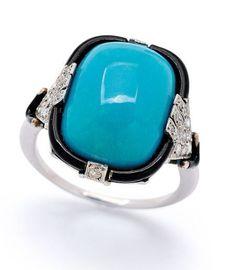 An Art Deco Turquoise, Enamel and Diamond Ring, circa 1925 HT