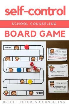 This self-control board game is a fun self-control activity for kids! Students discuss feeling frustrated, feeling angry, and self-control coping skills. This is great for an elementary school counseling small group or individual session. Social Skills Activities, Counseling Activities, Teen Activities, Elementary School Counseling, School Counselor, Self Control, Teaching Character Traits, Social Emotional Learning, Coping Skills