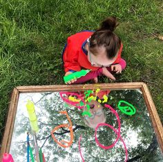 """Sarah • Learning With Hazel on Instagram: """"Mirror Process Art . Our outdoor mirror + @ikeausa Mala fluorescent squeeze paints + paintbrushes = a colorful way to spend the afternoon!…"""""""