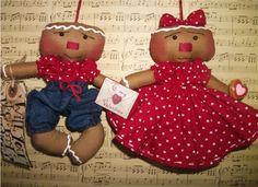 Primitive Valentine Gingerbread Couple Girl & Boy Dolls by Sweet Treats Dolls, via Flickr