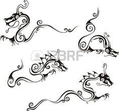 china drache: Stilistische Drachen Tattoos. Set von schwarzen und weißen Vektor-Illustrationen.