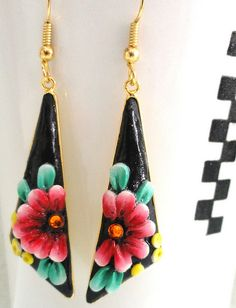 Beautiful OOAK hand made earrings with Polymer Clay colorful flowers on gold paleted by efrat_kuvent, via Flickr