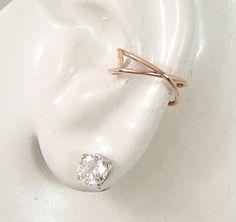 Pink Rose Gold Hoop Conch Earring, Cross Wire Conch Piercing, Gauge POST Pierced Cartilage Hoop Earring, Criss Cross ECRISCROSSRGFP