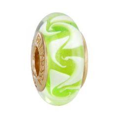 Pandora Polka Dot Light Green Gold Murano Glass Beads