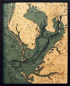 Tampa Bay 3-D Nautical Wood Chart 24.5 x 31