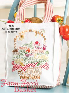 Farm-Fresh Basket from the May/Jun 2016 issue of Just CrossStitch Magazine. Order a digital copy here: https://www.anniescatalog.com/detail.html?prod_id=131294