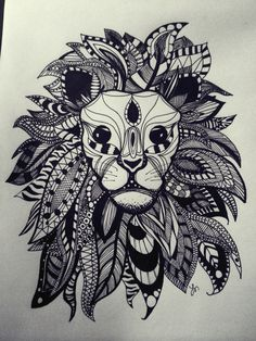 Lion sharpie drawing