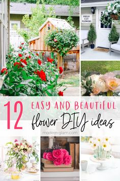 These easy flower diy ideas will show you how to make everything from paper flowers to arranging beautiful fresh flower bouquets! #modernglam #flowers #diy #floral