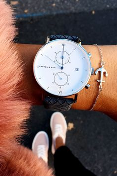Chrono Silver Light Blue Woven Leather by Kapten & Son | picture by meselina
