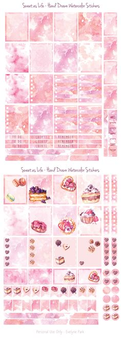 Hand painted watercolor textures and dessert illustrations turned into planner stickers. Printable files for Erin Condren Life Planner, scrapbooks and journals. Food illustration of cupcakes, tarts, macarons and various patisserie because I was hungry! :)