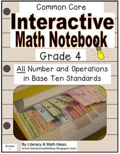 Literacy & Math Ideas: Grade 4 Interactive Notebook Number and Operations in Base Ten Interactive Math Journals, Math Notebooks, Math Vocabulary Words, Math Resources, Math Sites, Fourth Grade Math, Math Classroom, Classroom Ideas, Fun Math