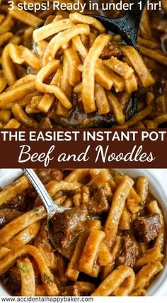 The easiest Instant Pot Beef and Noodles recipe you'll ever try. A traditional hearty beef and noodles recipe in 3 easy steps and under an hour. pot recipes easy dinners The Easiest Instant Pot Beef and Noodles. Ready in under 1 hr! Beef Recipe Instant Pot, Instant Recipes, Instant Pot Dinner Recipes, Easy Dinner Recipes, Easy Meals, Instant Pot Meals, Dessert Recipes, Instant Pot Pressure Cooker, Pressure Cooker Recipes