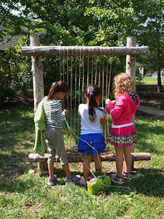 What a great idea! A permanent garden loom installation. From the new city arts blog.