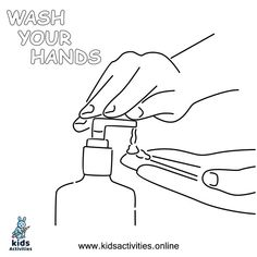 Free ! wash your hands coloring pages ⋆ Kids Activities Free Printable Worksheets, Free Printable Coloring Pages, Doodle Coloring, Hand Coloring, Cool Coloring Pages, Coloring Books, Teaching Kids, Kids Learning, Hand Washing Poster