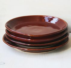 Rustic Dinner Plates in Deep Red Garnet  Miss by sheilasart, $85.00