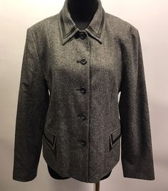 Pendleton Women's Lambswool Silk Leather Trim Gray Flecked Jacket Coat 12 Euc #Pendleton #BasicJacket #Business