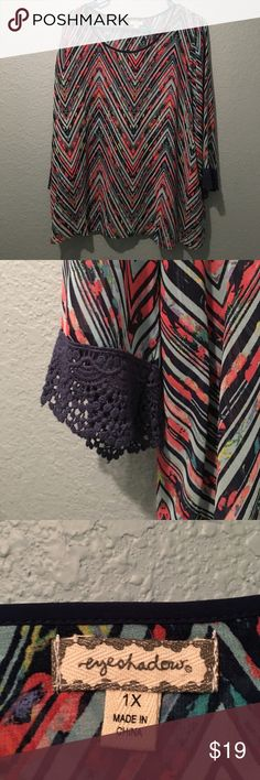 Chevron Eyeshadow Blouse 1x Chevron Patterned With Gorgeous Colors-NWOT-Lace Sleeves and Open in the back just enough. Should be worn with a cami. Slightly sheered. Eyeshadow is a brand I shop at Macy's-Made very Well. Eyeshadow Tops Blouses