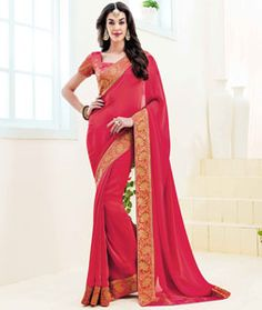 Buy Red Satin Party Wear Saree 76502 with blouse online at lowest price from vast collection of sarees at Indianclothstore.com.