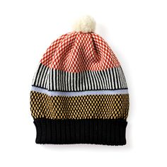 Back to Memphis | MARGOT & ME | Knit Hat Olive | Fair Isle Beanie with a Pompom - multi-colored + black and white stripes
