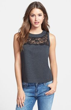 70b2769fb0212 Vince Camuto Lace Yoke Sleeveless Top (Regular   Petite) available at   Nordstrom Spitzenrock