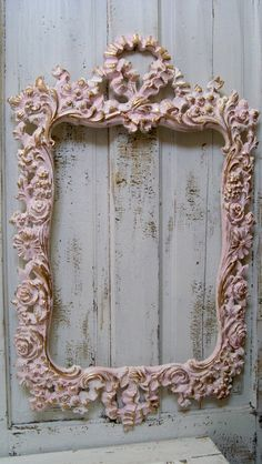 Large ornate vintage frame pink white accented by AnitaSperoDesign.