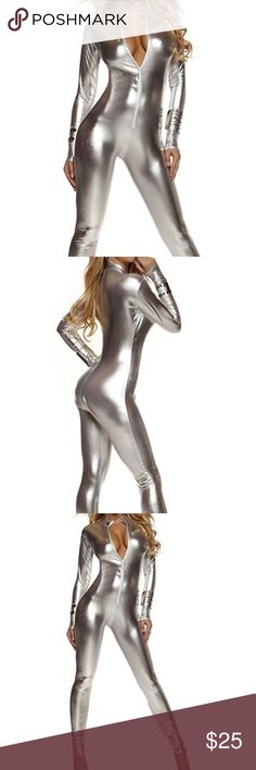 "Silver Zip Up Body Suit PERFECT FOR HALLOWEEN. ORDER IN TIME! Originally purchased from Amazon - called ""Forplay Women's Metallic Zip Front Mock Neck Catsuit, Silver, Medium/Large. Worn once for a costume. Fit great. Great condition. Pants Jumpsuits & Rompers"