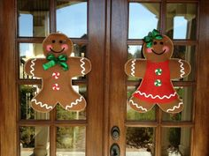 Gingerbread boy and girl ~ burlap door hangers for double doors