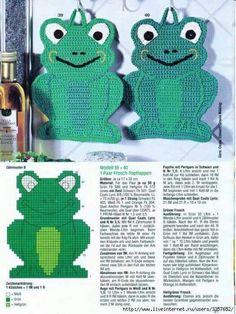 Interesting ideas for decor: Прихватка - лягушка. Crochet Potholders, Crochet Motifs, Easy Crochet Patterns, Crochet Kitchen, Crochet Home, Free Crochet, Plastic Canvas Crafts, Plastic Canvas Patterns, Crochet Frog