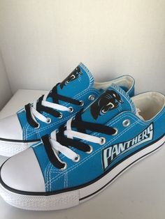 Carolina panthers womens tennis shoes by sportzshoeking on Etsy