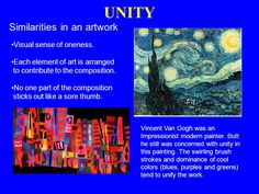 Unity In Art, Elements Of Art, Stick It Out, Vincent Van Gogh, Impressionist, Search, Google, Artwork, Painting