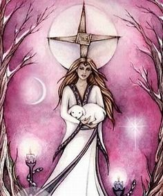 """Brigid (""""exalted one""""), along with her two sisters (also called Brighid), is considered a classic Celtic Triple Goddess. As one of the most popular goddesses worshipped by the Celtic peoples, including the druids, many of her stories and symbology survive in the persona of Saint Brigid. In the living traditions, whether seen as goddess or saint, she is largely associated with the home and hearth and is a favorite of both Pagans and Christians."""