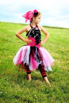 Pirate Princess tutu corset tutu Hot pink/black or by SonBel