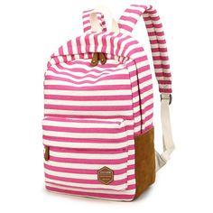 Leisure Travel Canvas Backpack Fashion College Striped Student Rucksack 0dd17bda4ac5d