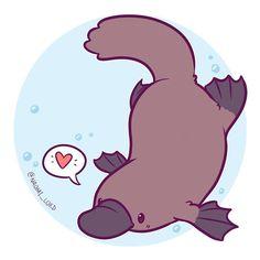 Illustration art animal kawaii Ideas for 2019 Cute Kawaii Drawings, Kawaii Art, Kawaii Chibi, Cute Kawaii Animals, Dibujos Cute, Platypus, Anime Animals, Cute Chibi, Cute Creatures