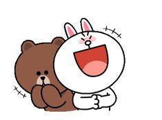 Line Stickers & Themes Cute Couple Cartoon, Cute Cartoon Characters, Cute Couple Art, Cute Love Cartoons, Cartoon Gifs, Friends Gif, Line Friends, Cute Love Gif, Cute Cat Gif